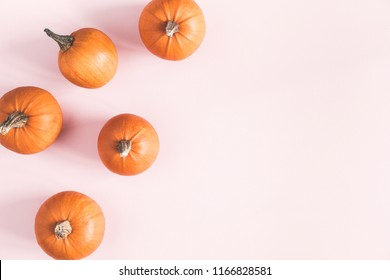 Autumn composition. Pumpkins on pastel pink background. Autumn, fall, halloween concept. Flat lay, top view, copy space