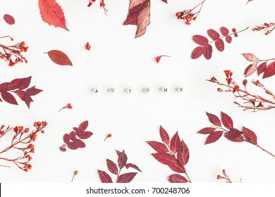 Fall flowers images stock photos vectors shutterstock autumn composition word autumn red flowers and leaves on white background flat lay mightylinksfo