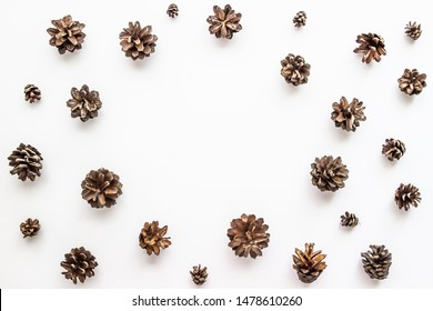 Autumn concept with pine cones on white background.