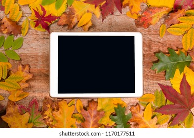 Autumn concept, tablet with empty screen for adding text surrounded with autumn leaves