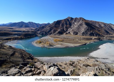 autumn with the confluence of ,Katun river and Chuya river along Altai mountains , Russia