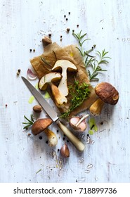 autumn cooking  background;  organic porcini Mushroom; seasoning forest Mushroom and Italian Spices Herb