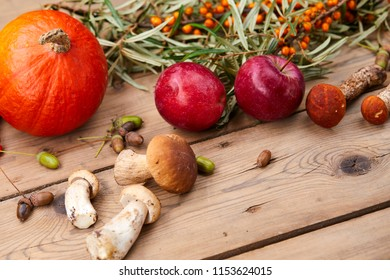 autumn copmposition on wooden background