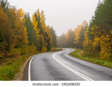 Autumn country road in Finland