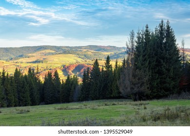 autumn countryside landscape in mountains. rural fields on the distant hills in evening light. cloudscape on a blue sky above the distant ridge. spruce forest in shade of a hill.