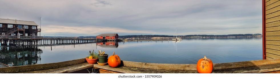 Autumn Coupeville Wharf Waterfront Panorama