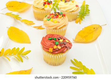 Autumn cupcakes with leaves