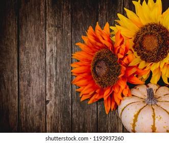 Autumn Dark Wood Texture with Flowers
