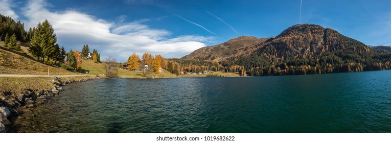 Autumn at the Davos Lake, Grisons, Switzerland