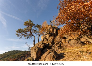 Autumn day with blue sky on the cliff, Ilse stone in harz mountains