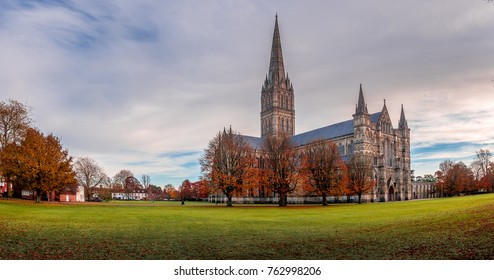 Autumn day at Salisbury Cathedral, England