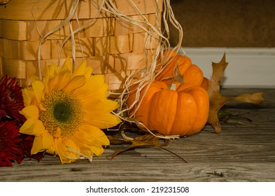 Autumn Deco A close up of a sunflower and a mini pumpkin.