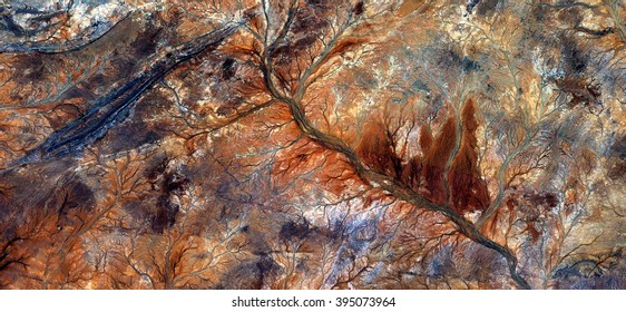 Autumn in the desert,abstract photography of the deserts of Australia from the air, bird's eye view, abstract expressionism, contemporary art, optical illusions,