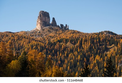 Autumn in Dolomites forest and mountains landscape