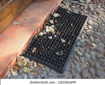 Autumn, doormat in front of the house door and yellow leaves.