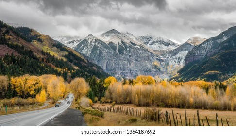 Autumn drive on Scenic Highway 145 to Telluride Colorado - Rocky Mountains