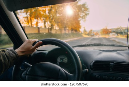 Autumn driving and driving on a sunny day.