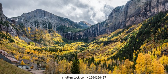 Autumn at the end of the box canyon Telluride Colorado - Rocky Mountains