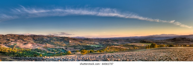 Autumn evening landscape panorama with dramatic cloud formation