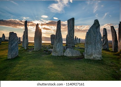 Autumn evening at the stone circle at Callanish, Isle of Lewis, Western Isles, Outer Hebrides, Scotland, UK