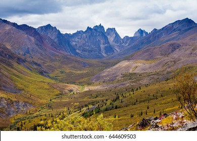 Autumn fall colors start to arrive in Tombstone Territorial Park near Dempster Highway north of Dawson City, Yukon Territory, Canada
