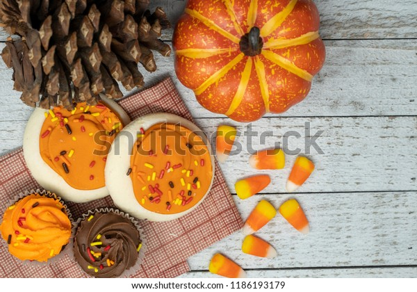Autumn Fall Flatlay Background Halloween Cupcakes Stock