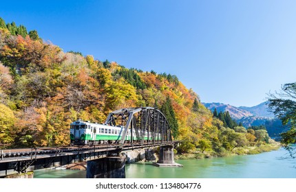 Autumn fall foliage Fukushima Tadami Black Bridge View Point in Fukushima Japan