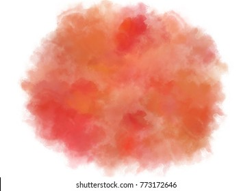 Autumn, fall, halloween, thanksgiving watercolor background with uneven edge. Orange and yellow watercolour stains texture. Painted aquarelle fire, flame template for card, text design. Rounded shape