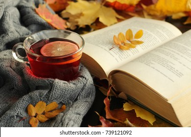 Autumn, fall  leaves, cup of tea, opened book  and warm scarf on wooden table. Seasonal, book reading, Sunday relaxing, teatime and still life concept. Selective focus.