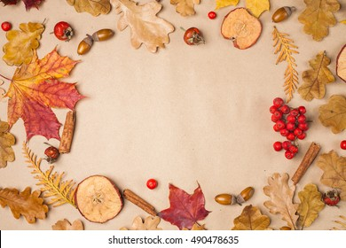 Autumn fall leaves frame on craft paper