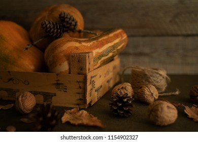 Autumn, fall leaves, pumpkin seeds, cones, old wooden box and ripe fall vegetables on wooden table background. Seasonal, warm autumn relaxing and still life concept. Selective focus. Toned image.
