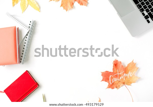 Autumn fall wallpaper. Home office workspace frame mock up. Flat lay, top view