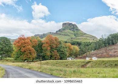 An Autumn farm landscape on the P317-road to Garden Castle in the Drakensberg near Underberg