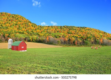 Autumn farmland in upstate New York with the Appalachian mountains in the background.