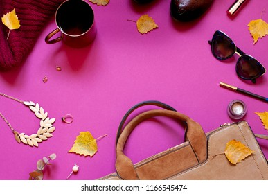 Autumn fashion flat lay concept frame with accessories. Copy space. Top view