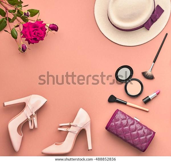 Autumn Fashion Lady Accessories Set. Cosmetic Makeup Woman Essentials.  Stylish Handbag Clutch, Glamor Heels, Hat Rose. Trendy Design. Vintage. Minimal