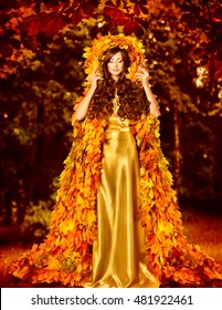 Autumn Fashion Woman Fall Leaves Dress, Girl Standing Outdoor in Leaf Coat