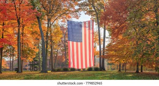 Autumn Flag Panorama Center
