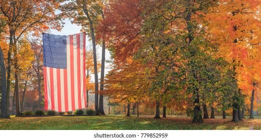 Autumn Flag Panorama Left