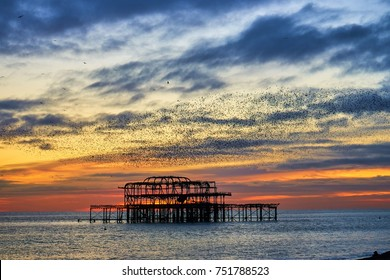 Autumn flocks of starlings flock in formations, ready to roost on the West Pier ruins, Brighton and Hove, Sussex,England.                         - Shutterstock ID 751788523