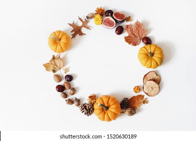 Autumn floral composition with orange pumpkins. Wreath of dry maple, oak leaves, flowers, acorns, fig and apple fruit. White table background. Fall, Halloween or Thanksgiving design. Flat lay, top