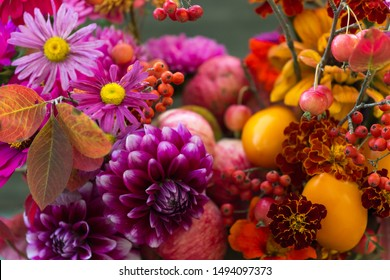 Autumn flowers closeup background, fall flowers bouquet with dahlia