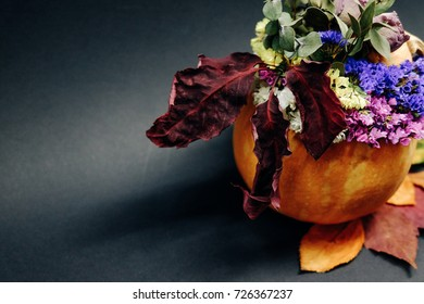 autumn flowers in pumpkin on black background with colorful leaves