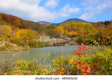 Autumn foliage at the Jigokunuma Pond in Mt.Hakkoda, Aomori, Japan