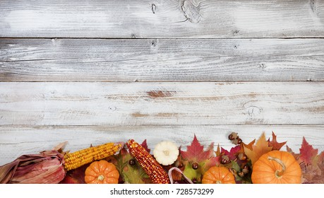 Autumn foliage with pumpkins, gourds, corn and acorns for Thanksgiving and fall holidays. Bottom border background with plenty of copy space