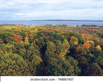 Autumn foliage and West Grand Traverse Bay near Traverse City in northern Michigan