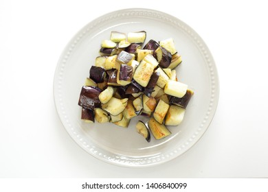Autumn food, deep fried eggplant on dish
