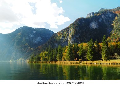 Autumn forest with beautiful lake
