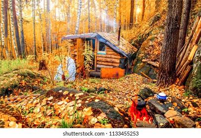 Autumn forest hunting hut travel landscape