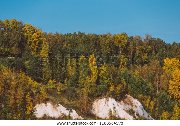 Autumn forest on a cliff. Nature landscape. Mountain view. Colorful leaves
